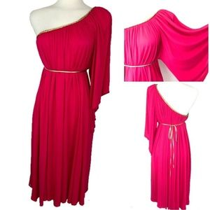 Symphony Grecian Midi Dress Size XL Pink Gold Belt